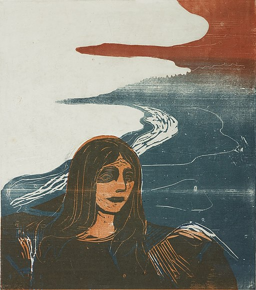 Girl's Head against the Shore by Edvard Munch, 1899, color woodcut