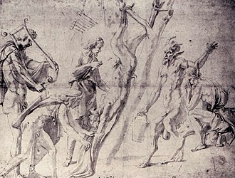 Flaying of Marsyas (Titian) - Drawing by Giulio Romano, Louvre, for a fresco in Mantua.