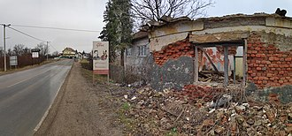Glina, Croatia - Entrance to Glina by destroyed Serbian house