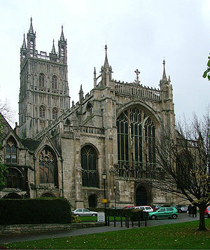 Gloucester Cathedral, showing the huge West wi...