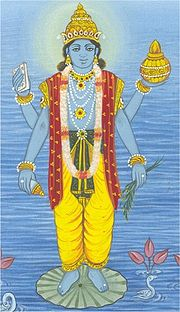 Dhanvantari, God of Ayurveda, appears as Vishnu, holding medical herbs in one hand
