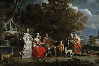 Gonzales Coques - A family group in a landscape