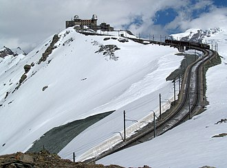 Gornergrat Railway - A train approaching the summit station
