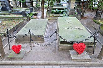 Stanisław Moniuszko - Grave of Stanisław Moniuszko (right), Powązki Cemetery in Warsaw