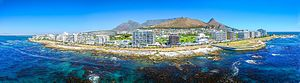 Green Point, Cape Town - An aerial view of Green Point from the Atlantic Ocean side with Signal Hill clearly visible in the centre of the picture.