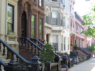 Boroughs of New York City - Landmark 19th-century brownstones in the Greenpoint Historic District of Brooklyn, New York City's most populous borough.