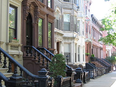 Landmark 19th-century rowhouses on tree-lined Kent Street in Greenpoint Historic District Greenpoint Houses.JPG