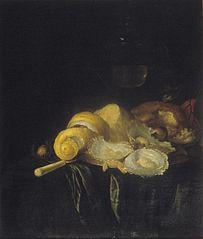 Stilleven met oesters en geschilde citroen