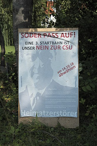 2018 Bavarian state election - Anti-Söder-election poster in Großnöbach (Fahrenzhausen) in the Freising district.