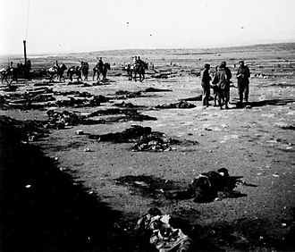 Battle of Annual - Spanish officers inspecting the remains of the garrison at Monte Arruit, January 1922.