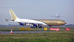 Gulf Air A340-312 (A40-LE) taxiing at London Heathrow Airport.jpg