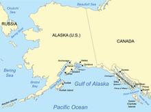 Mappa del golfo dell'Alaska