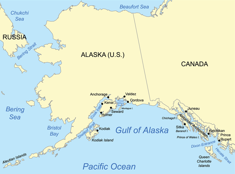 Map showing the Gulf of Alaska. - Gulf of Alaska