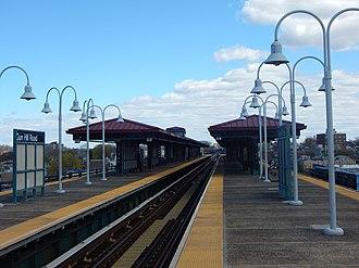 Gun Hill Road (IRT White Plains Road Line) - The Gun Hill Road station platform in April 2015.