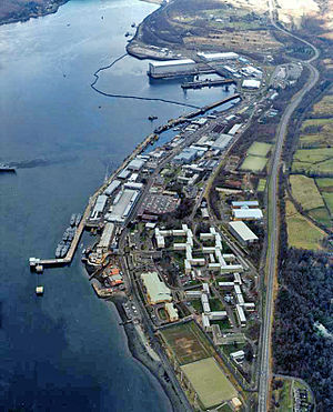 Nuclear weapons and the United Kingdom - Faslane Naval Base, HMNB Clyde, Scotland. Home of the Vanguard class submarines which carry the UK's current nuclear arsenal.