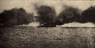 Allies of World War I - British battlecruiser HMS Lion hit by shell fire during the Battle of Jutland