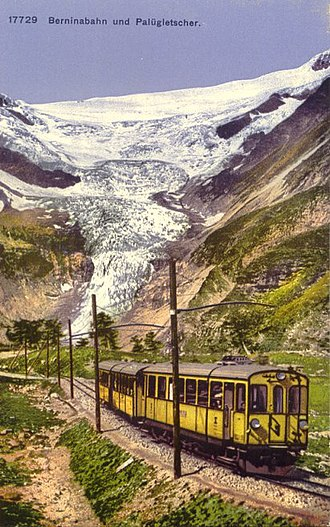 Bernina railway - Bernina Railway with the Palü Glacier in the background. Postcard from ca. 1910