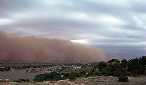 A haboob moves across the Llano Estacado toward Yellow House Canyon, near the residential community of Ransom Canyon, Texas (18 June 2009)