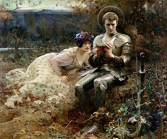 Percival - Arthur Hacker's 1894 illustration of a scene from Thomas Malory's Le Morte d'Arthur, in which Percival is tempted by a devil in the form of a beautiful woman