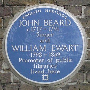William Ewart (British politician) - Blue Plaque on Hampton Library to William Ewart, Hampton, London