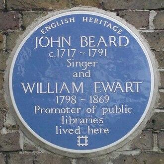 John Beard (tenor) - Image: Hampton Library plaque