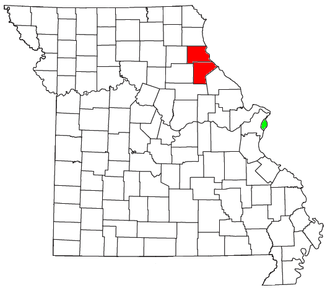 Hannibal, Missouri micropolitan area - Location of the Hannibal Micropolitan Statistical Area in Missouri