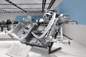 """Volkswagen Group MQB platform - """"MQB Bodengruppe""""   Volkswagen MQB floor assembly on display at the 2012 Hannover Messe."""