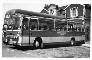 Plaxton Panorama Elite - A Bristol LH with Panorama Elite body; above the windscreen is the destination box mounted in a Bristol dome
