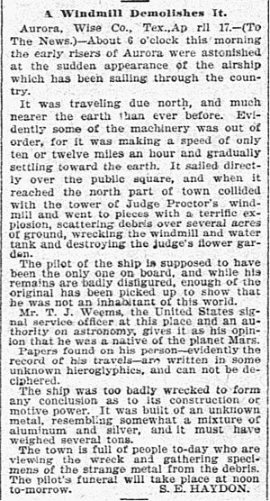 "Aurora, Texas, UFO incident - Original newspaper article describing the incident, by S. E. Haydon, ""A Windmill Demolishes It,"" The Dallas Morning News, April 19, 1897, p. 5."