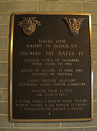Hayes Gymnasium - Plaque dedicating the gym in honor of CPT Thomas J. Hayes