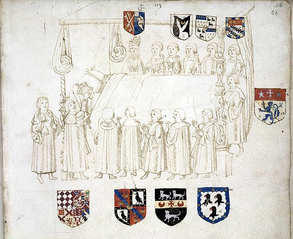 Heraldic drawing by Wriothesley of deathbed of King Henry VII, 1509. Although not present, Wriothesley wrote his account, in which the drawing features, from discussions with attendees. BL Add.MS.45131,f.54 HenryVIIdeathbed.jpg