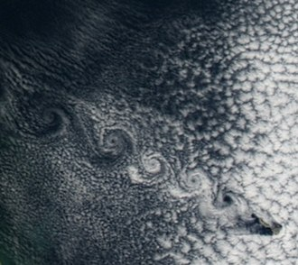 Herald Island (Arctic) - Low fog, moving north west, with Herald Island causing a Von Karman Vortex street to form, on August 19, 2008.