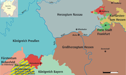 Map of Hesse-Homburg (red) and Middle Rhine