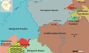 Hesse-Homburg - Map of Hesse-Homburg (in red) and Middle Rhine