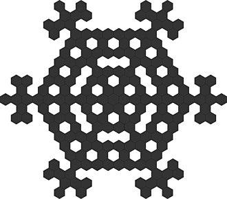 Ulam–Warburton automaton - Hex-Ulam-Warburton cellular automaton - generation 11