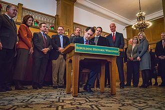 Scott Walker (politician) - Walker signing Historic Tax Credit Bill December 11, 2013 at Hotel Northland