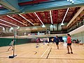 Hk swcc sheung wan civic centre sports badminton court visitors red ceiling wooden flooring august 2019 ssg 01.jpg