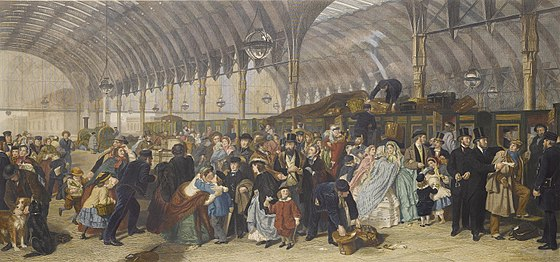 Frith's depiction of Paddington railway station in London. Holl (after Frith) The Railway Station colorized.jpg