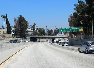 Hollywood Freeway - Southbound approaching Hollywood Boulevard