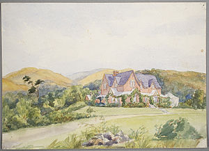 John Acland (politician) - Holnicote, the homestead at Mount Peel (1880s watercolour)