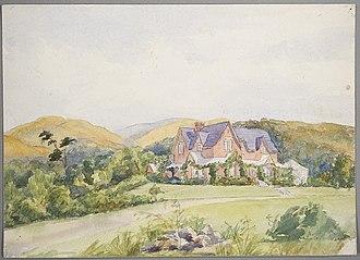 John Acland (politician) - Holnicote, the homestead at Mount Peel (1880s watercolour)