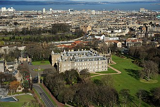 Holyrood Palace - Bird's view of Holyrood Palace and Abbey, including the Westen Tower