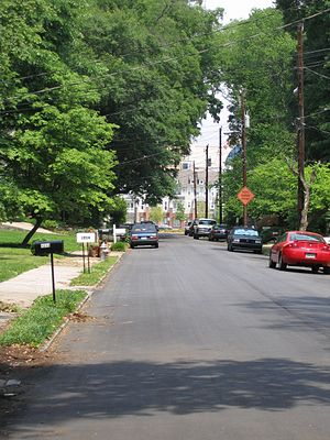 Home Park, Atlanta - A street in north Home Park, with Atlantic Station in the background.