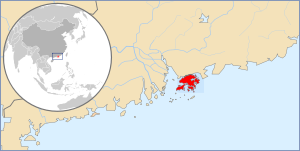A map showing Hong Kong's location in Asia, in...