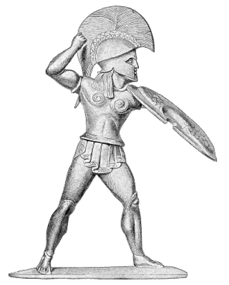 Fascism and ideology - Depiction of a Spartan Hoplite warrior, as ancient Sparta has been considered an inspiration for fascist and quasi-fascist movements, such as to Nazism and quasi-fascist Metaxism