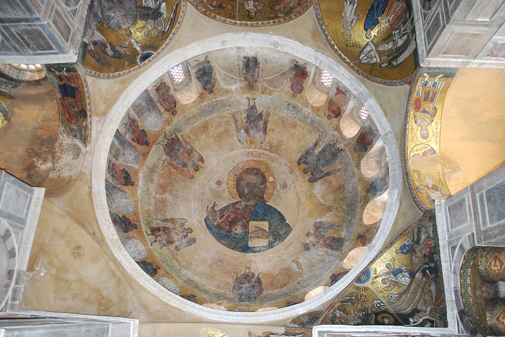 Kloster Hosios Lukas; Katholikon: Blick in die Kuppel mit Mosaiken und Fresken. (Dome) - Pantocrator