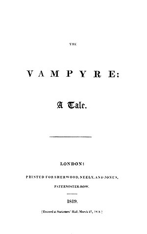 John William Polidori - The Vamypre; A Tale, 1819
