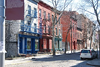 Vinegar Hill, Brooklyn - Historic houses on Hudson Avenue.