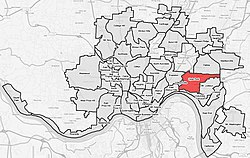 Location within Cincinnati