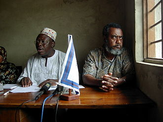 Seif Sharif Hamad - Hamad (r) and Ibrahim Lipumba (left) in a press conference after the victory of CUF in the Pemba by-elections, 2003